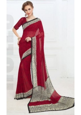 Casual Wear Maroon & Cream Georgette Saree - 703-A