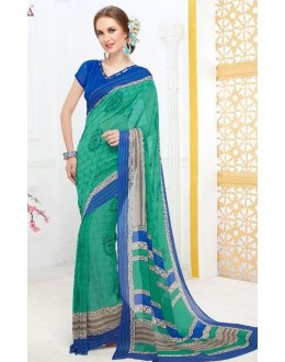 Party Wear Green & Blue Georgette Saree - 704-A
