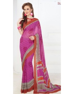 Party Wear Pink & Orange Georgette Saree - 704-B