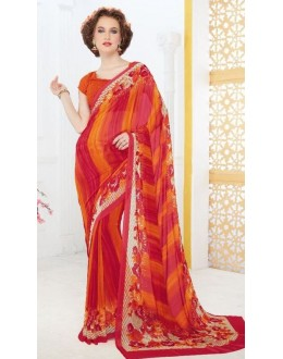 Party Wear Orange Georgette Saree - 705-A
