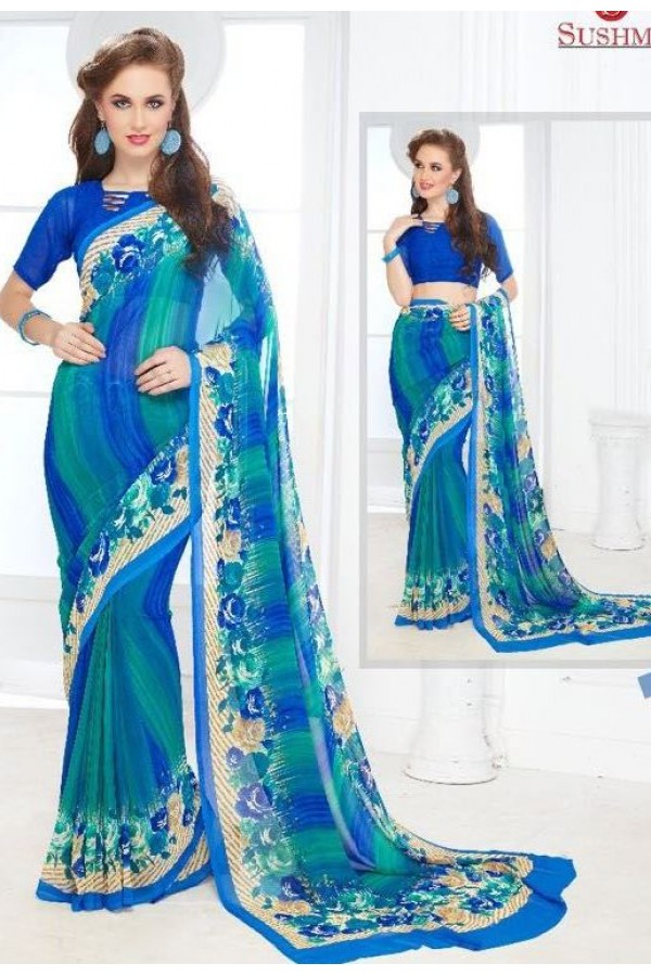 Party Wear Blue Georgette Saree - 705-B