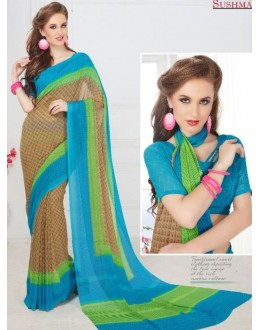 Party Wear Brown & Blue Georgette Saree - 706-B