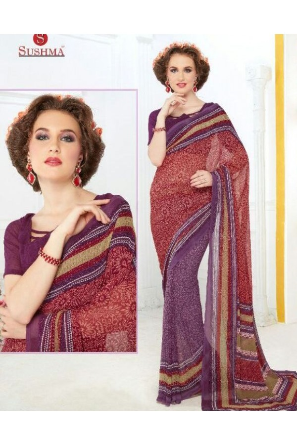 Party Wear Multicolour Georgette Saree - 707-A