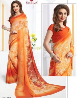 Party Wear Orange Georgette Saree - 709-A
