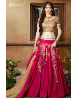 Traditional Pink & Golden Twotone Silk Lehenga Choli - 9404