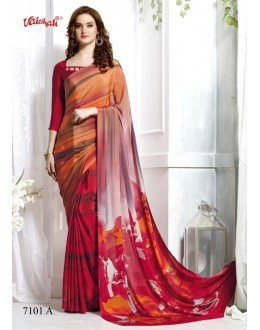 Festival Wear Multi-Colour Crepe Silk Saree  - 7101-A