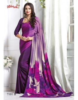 Party Wear Multi-Colour Crepe Silk Saree  - 7101-B