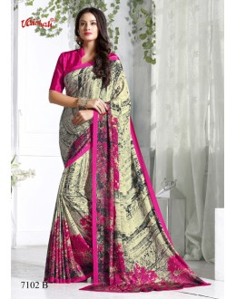 Party Wear Multi-Colour Crepe Silk Saree  - 7102-B
