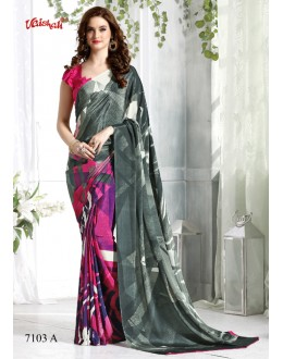 Casual Wear Multi-Colour Crepe Silk Saree  - 7103-A