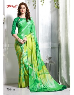 Festival Wear Green Crepe Silk Saree  - 7104-A