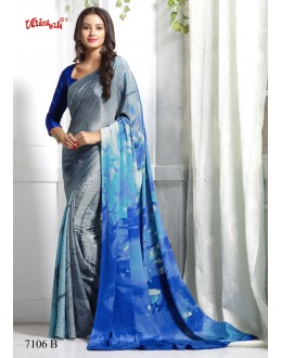 Ethnic Wear Blue Crepe Silk Saree  - 7106-B