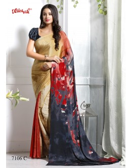 Casual Wear Multi-Colour Crepe Silk Saree  - 7106-C