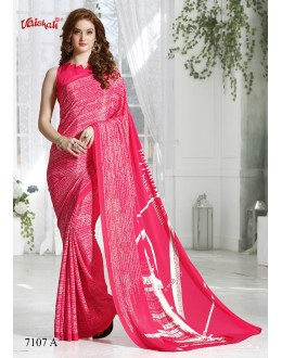 Pink Colour Crepe Silk Prtinted Saree  - 7107-A