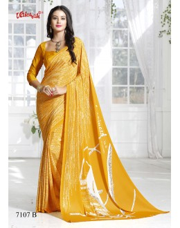 Ethnic Wear Yellow Crepe Silk Saree  - 7107-B