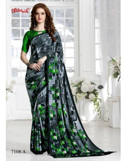 Crepe Silk Grey & Green Saree  - 7108-A