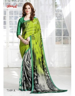 Casual Wear Multi-Colour Crepe Silk Saree  - 7109-A
