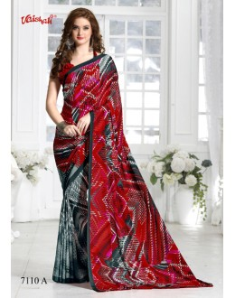 Multi-Colour Crepe Silk Half & Half Saree  - 7110-A