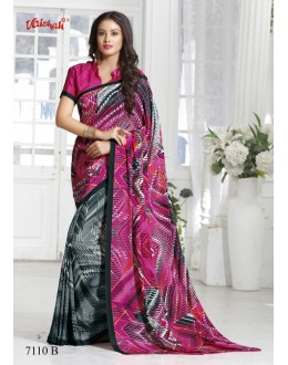 Crepe Silk Multi-Colour Half & Half Saree  - 7110-B