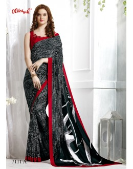 Ethnic Wear Black Crepe Silk Saree  - 7111-A