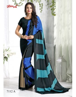 Party Wear Multi-Colour Crepe Silk Saree  - 7112-A