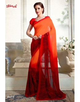 Georgette Orange Printed Saree  - 9002-B