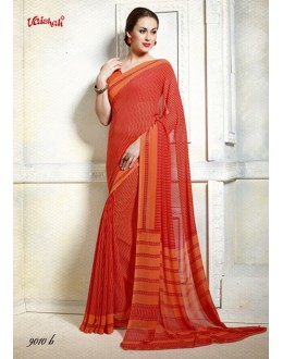 Casual Wear Orange Georgette Saree  - 9010-B