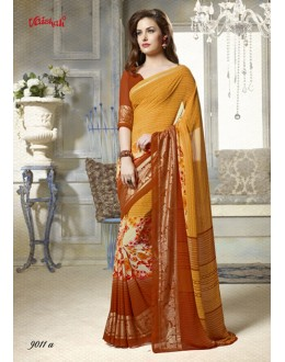 Ethnic Wear Yellow Georgette Printed Saree  - 9011-A