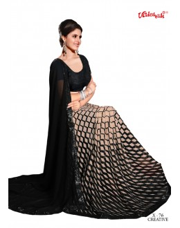 Party Wear Black Georgette Saree  - VAISHALI-X-76
