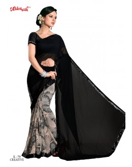 Georgette Black & Multi-Colour Saree  - VAISHALI-X-79