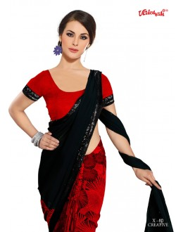 Party Wear Black & Red Georgette Saree  - VAISHALI-X-80