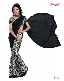 Party Wear Black Georgette Saree  - VAISHALI-X-98