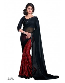 Ethnic Wear Black Georgette Saree  - VAISHALI-X-101
