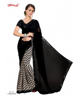 Ethnic Wear Black Georgette Saree  - VAISHALI-X-71