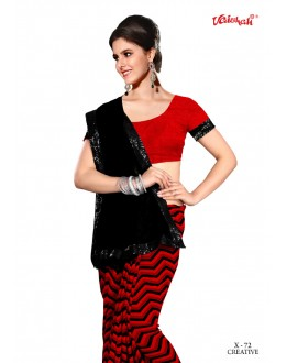 Party Wear Black & Red Georgette Saree  - VAISHALI-X-72
