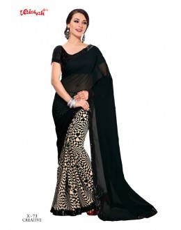 Georgette Multi-Colour Half & Half Saree  - VAISHALI-X-73