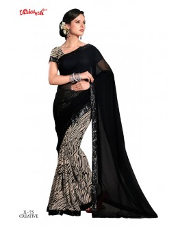 Casual Wear Black & Multi-Colour Georgette Saree  - VAISHALI-X-75