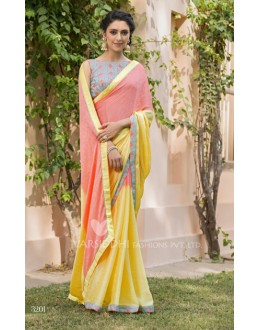 Party Wear Jacquard Chiffon Saree - 3201