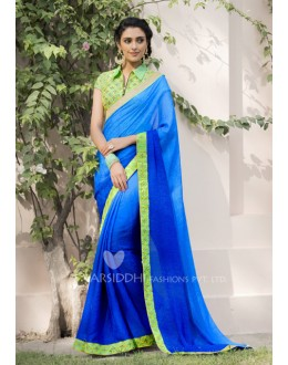 Ethnic Wear Blue Jacquard Chiffon Saree - 3203