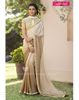 Party Wear Jacquard Chiffon Saree - 3205