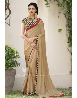 Party Wear Beige Jacquard Chiffon Saree - 3206