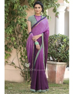 Casual Wear Purple Jacquard Chiffon Saree - 3208