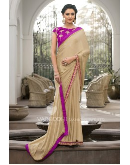 Party Wear Jacquard Chiffon Saree - 3210