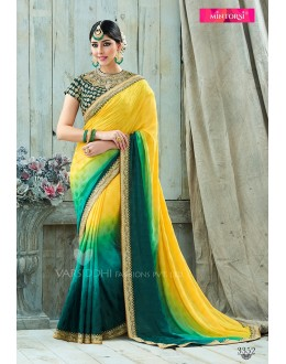 Party Wear Yellow Viscose Jacquard Chiffon Saree  - VARISDDHI-3352