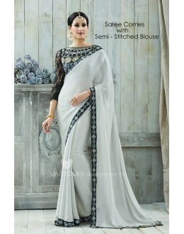 Party Wear Grey Moss Georgette Saree  - VARISDDHI-3353