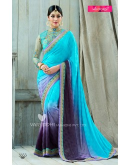Traditional Sky Blue Viscose Jacquard Chiffon Saree  - VARISDDHI-3355