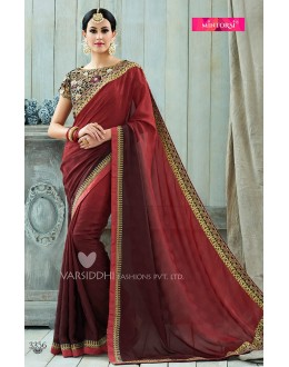Ethnic Wear Maroon Viscose Georgette Saree  - VARISDDHI-3356