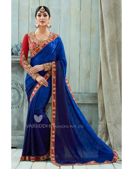 Party Wear Purple Viscose Georgette Saree  - VARISDDHI-3357