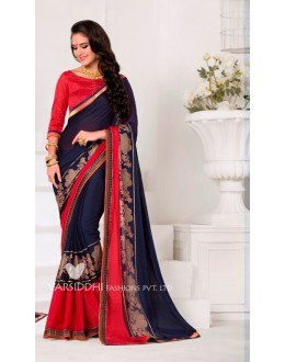 Party Wear Blue Georgette Saree  - VARSIDDHI-3452