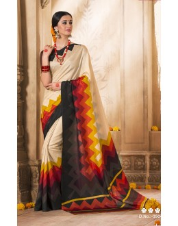 Party Wear Cream Silk Saree  - VARSIDDHI-3504