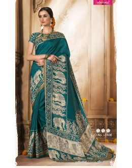 Silk Rama Green Colour Printed Saree  - VARSIDDHI-3506